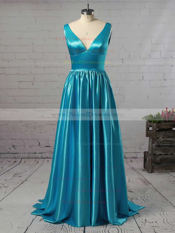 A-line V-neck Floor-length Ruffles Satin Prom Dresses #PDS02018723
