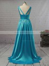 A-line V-neck Floor-length Ruffles Satin Prom Dresses #PDS02018723