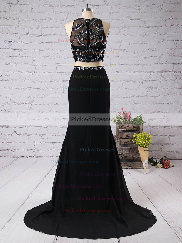 Trumpet/Mermaid Scoop Neck Sweep Train Chiffon Tulle Beading Prom Dresses #PDS02019066