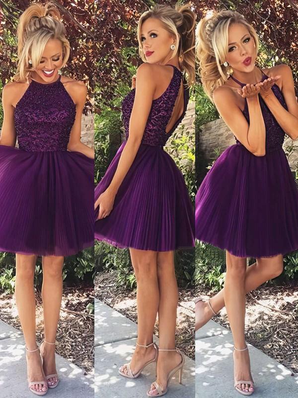 Scoop Neck Tulle Beading Spaghetti Straps Elegant Purple Short/Mini Prom Dress #PDS02019702