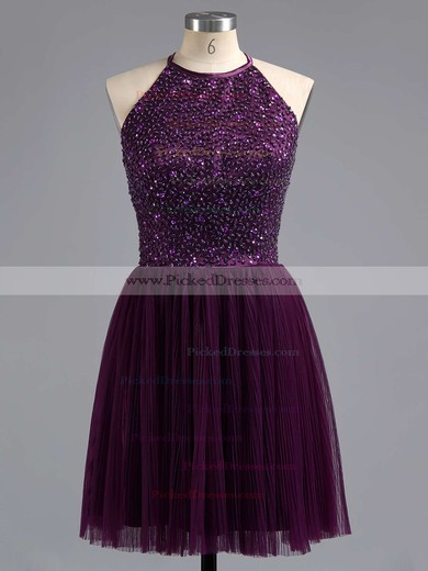 Scoop Neck Tulle Beading Spaghetti Straps Elegant Purple Short/Mini Prom Dress #PDS02019702