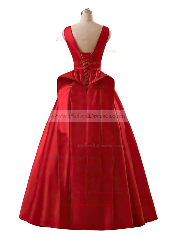 Modest Princess Scoop Neck Red Satin Floor-length Prom Dresses #PDS020102746