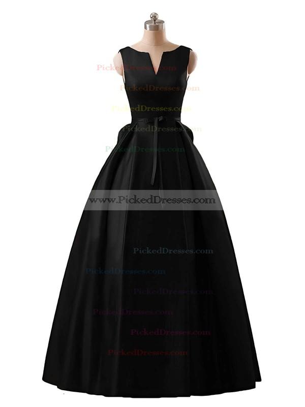 Modest Princess Scoop Neck Red Satin Floor-length Prom Dresses #PDS020102746