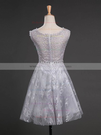 A-line Scoop Neck Lace with Beading Short/Mini Cute Prom Dresses #PDS020102751