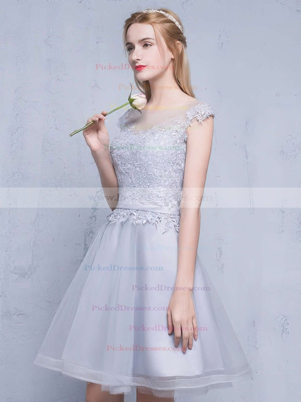 A-line Scoop Neck Tulle Appliques Lace Short/Mini Sweet Prom Dress #PDS020102753