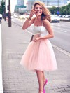 Two Piece A-line Sweetheart Tulle Ruffles Knee-length Popular Prom Dress #PDS020102755