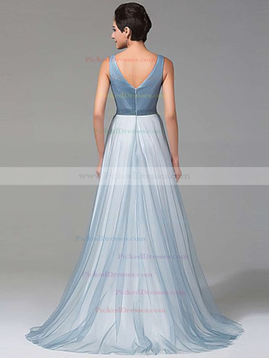 A-line V-neck Tulle with Beading Floor-length Beautiful Prom Dresses #PDS020102764