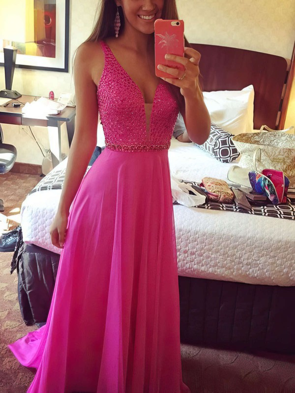 Backless A-line V-neck Chiffon Beading Sweep Train Glamorous Prom Dresses #PDS020102765