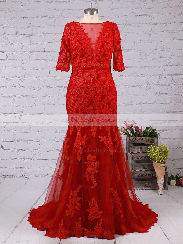 Scoop Neck Tulle Appliques Lace Sweep Train Trumpet/Mermaid 1/2 Sleeve Backless Elegant Prom Dresses #PDS020102800