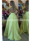 Open Back A-line Scoop Neck Tulle Appliques Lace Sweep Train Long Sleeve Sexy Prom Dresses #PDS020102805