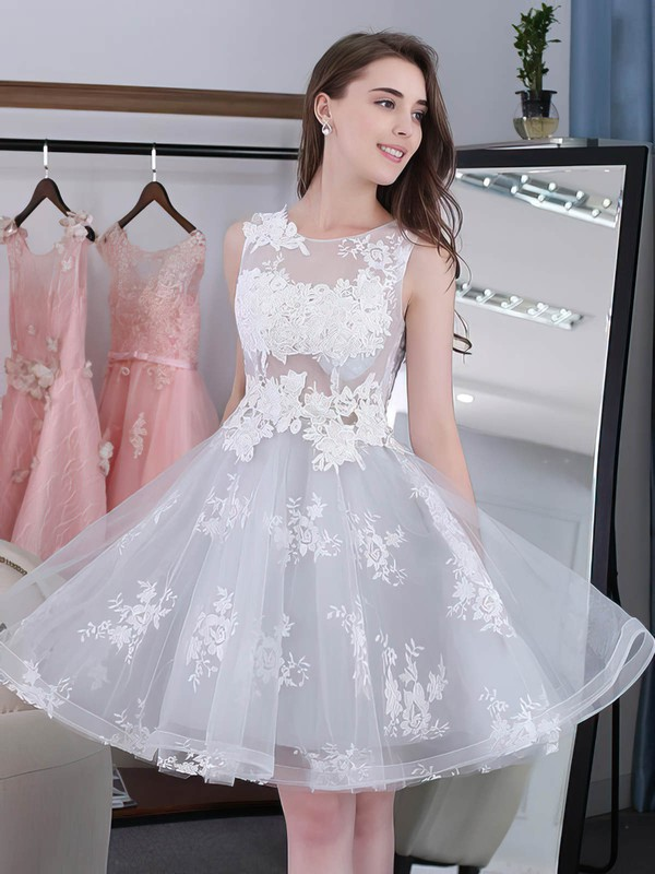 Sweet Knee-length A-line Scoop Neck Tulle with Appliques Lace Prom Dresses #PDS020102858