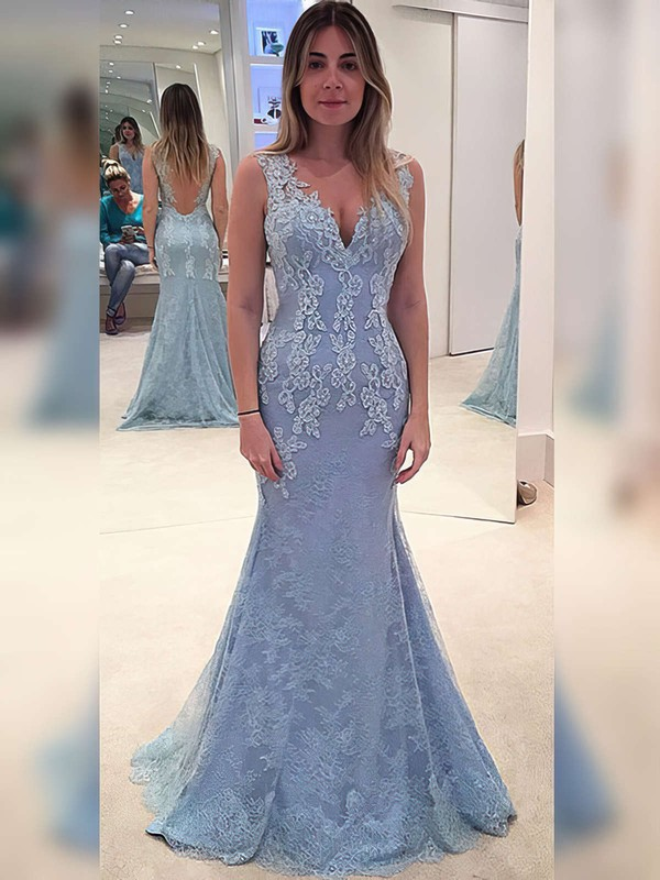 New Style V-neck Lace with Appliques Lace Sweep Train Trumpet/Mermaid Prom Dresses #PDS020102866