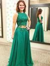 A-line Scoop Neck Chiffon Appliques Lace Floor-length Two Piece Fashion Prom Dresses #PDS020102874