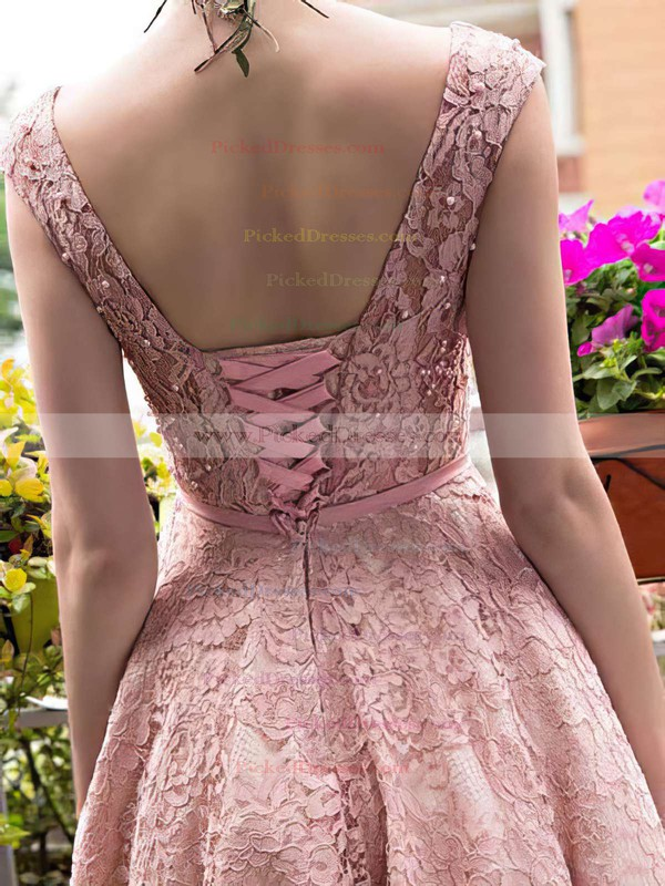 Sweet A-line Scoop Neck Lace with Tea-length Lace-up Prom Dresses #PDS020102877
