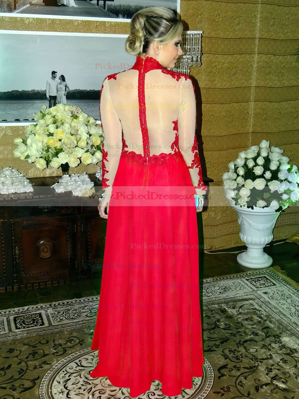 A-line High Neck Red Chiffon Tulle Appliques Lace Floor-length Long Sleeve Trendy Prom Dresses #PDS020102880
