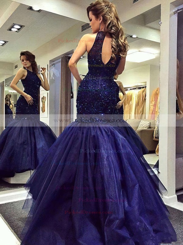 Trumpet/Mermaid Scoop Neck Dark Navy Tulle Beading Sweep Train Amazing Prom Dresses #PDS020102901