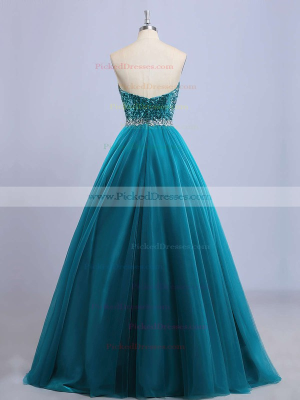 Classy Princess Sweetheart Tulle Sequined Beading Floor-length Prom Dresses #PDS020102908