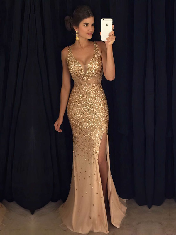 Hot Sheath/Column V-neck Tulle Split Front Floor-length Prom Dresses #PDS020102913
