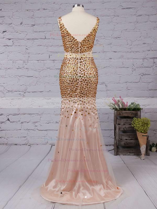 Hot Sheath/Column V-neck Tulle Split Front Floor-length Prom Dresses #PDS020102913