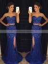 Trumpet/Mermaid Sweetheart Tulle Beading Sweep Train Two Piece Amazing Prom Dresses #PDS020102914