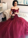 Fashion Trumpet/Mermaid Off-the-shoulder Burgundy Tulle Appliques Lace Prom Dresses #PDS020102915