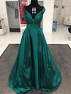 A-line V-neck Dark Green Satin with Ruffles Sweep Train Boutique Prom Dresses #PDS020102919