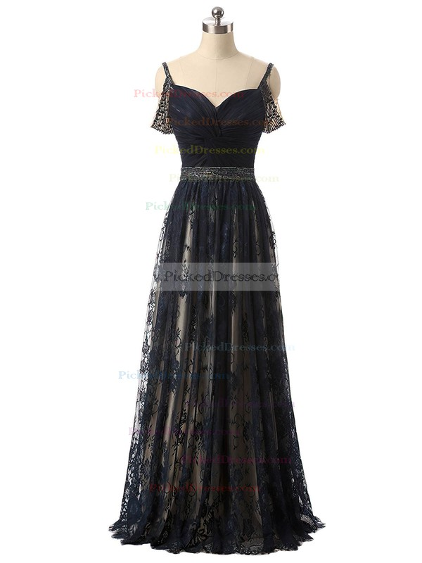 A-line V-neck Black Lace Tulle with Beading Floor-length Famous Prom Dresses #PDS020102939
