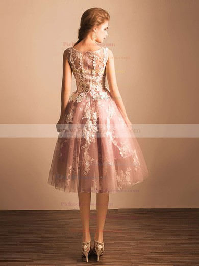Boutique Ball Gown Scoop Neck Tulle with Appliques Lace Tea-length Prom Dresses #PDS020103045