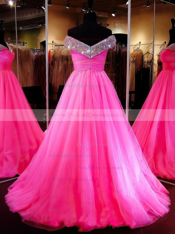 Amazing Ball Gown Tulle with Crystal Detailing Sweep Train Off-the-shoulder Prom Dresses #PDS020103112