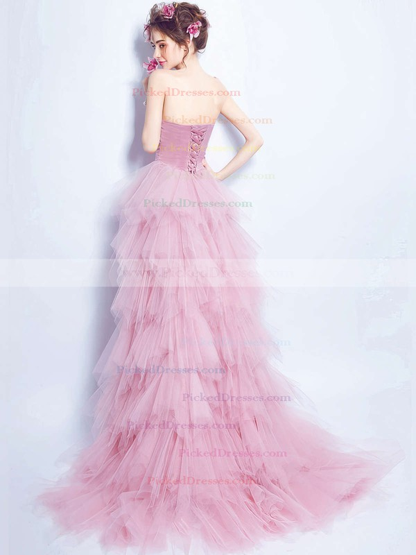 A-line Sweetheart Tulle with Beading Asymmetrical Stunning Prom Dresses #PDS020103147