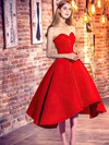 Princess Sweetheart Red Satin with Ruffles Asymmetrical Classic Prom Dresses #PDS020103199