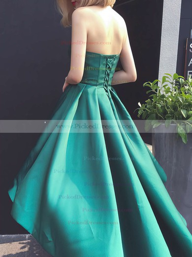 Simple A-line Sweetheart Satin with Ruffles Asymmetrical Prom Dresses #PDS020103201