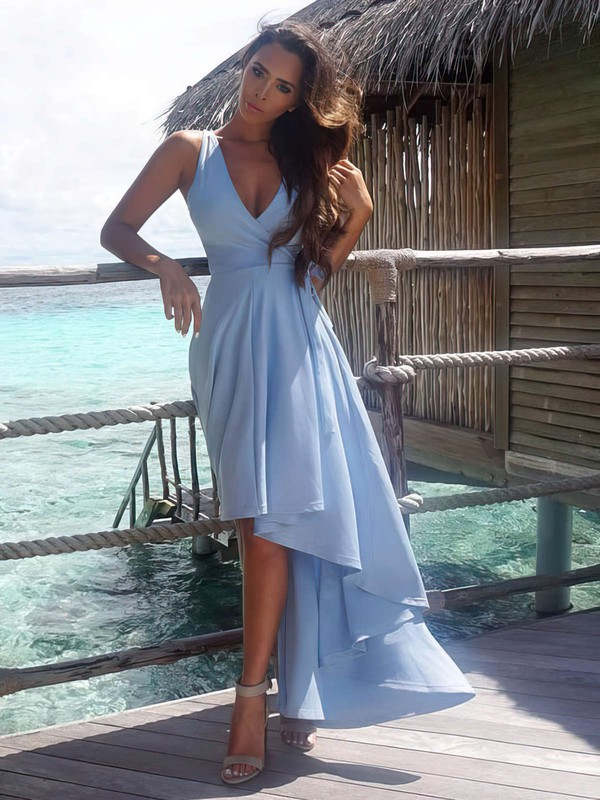 Informal A-line V-neck Chiffon with Asymmetrical Prom Dresses #PDS020103203