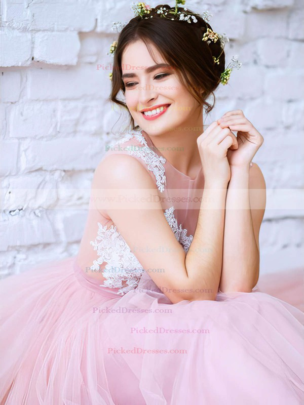 Princess Scoop Neck Pink Tulle with Appliques Lace Floor-length New Arrival Prom Dresses #PDS020103231