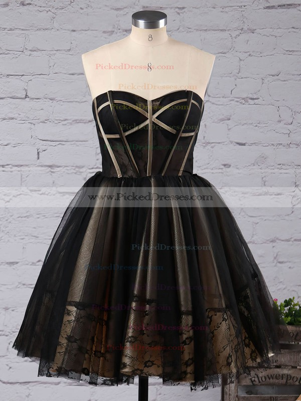 For Less Princess Sweetheart Black Tulle with Appliques Lace Short/Mini Prom Dresses #PDS020103252
