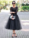 Princess Scoop Neck Black Lace Tulle Tea-length 3/4 Sleeve Casual Prom Dresses #PDS020103255