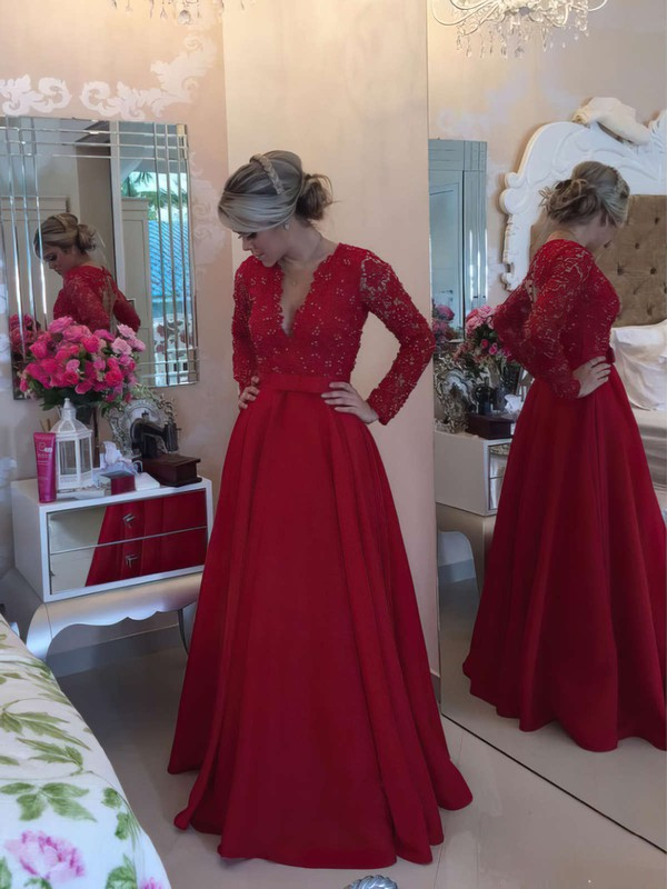Princess V-neck Lace Satin with Beading Floor-length Long Sleeve Newest Prom Dresses #PDS020103256