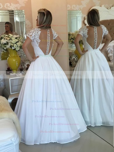 Princess V-neck White Chiffon Lace Floor-length Short Sleeve Prom Dresses #PDS020103257