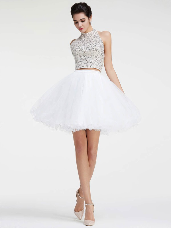 New Arrival Princess Halter Tulle with Sequins Short/Mini Two Piece Backless Prom Dresses #PDS020103278