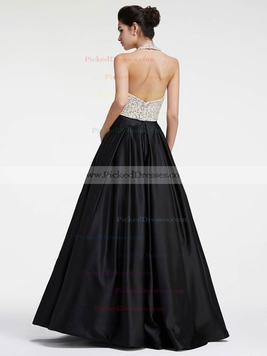 Princess Halter Black Satin with Sequins Floor-length Two Piece Backless Nice Prom Dresses #PDS020103279