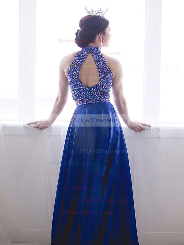 Perfect A-line High Neck Royal Blue Satin with Beading Sweep Train Two Piece Prom Dresses #PDS020103284