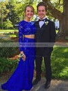 Sheath/Column Royal Blue Lace with Beading Floor-length Long Sleeve Two Piece  Prom Dresses #PDS020103287
