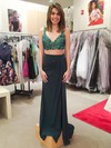Sheath/Column V-neck Chiffon Split Front Floor-length Backless Two Piece Inexpensive Prom Dresses #PDS020103291