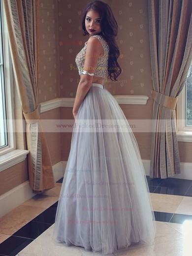 New Style Princess Scoop Neck Tulle with Pearl Detailing Floor-length Two Piece Prom Dresses #PDS020103295
