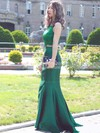 Trumpet/Mermaid Scoop Neck Lace Satin with Sequins Sweep Train Two Piece Graceful Prom Dresses #PDS020103296