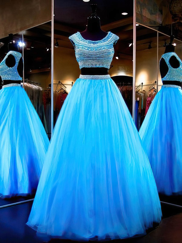 Online Ball Gown Scoop Neck Tulle with Beading Floor-length Open Back Two Piece Prom Dresses #PDS020103298