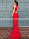 Sexy Trumpet/Mermaid Scoop Neck Red with Ruffles Sweep Train Two Piece Prom Dresses #PDS020103300
