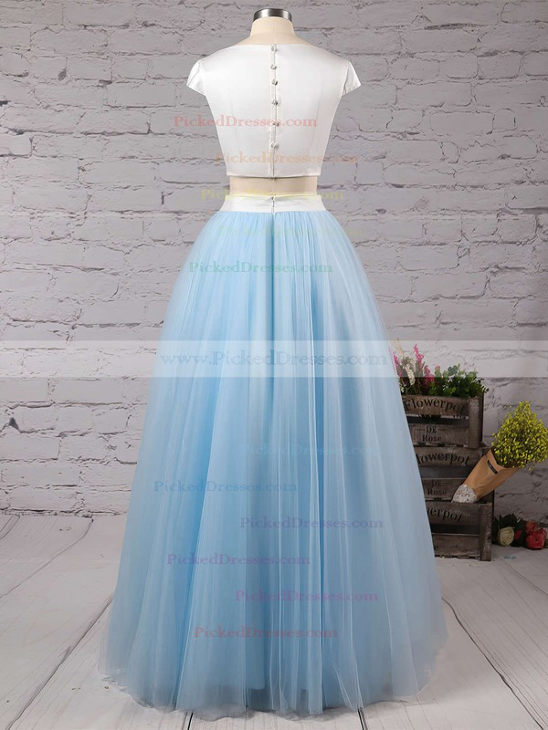 Princess Scoop Neck Light Sky Blue Satin Tulle with Ruffles Floor-length Two Piece Simple Prom Dresses #PDS020103301