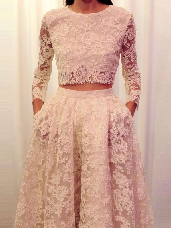 Ivory A-line Scoop Neck Lace with Pockets Sweep Train Long Sleeve Two Piece Latest Prom Dresses #PDS020103303
