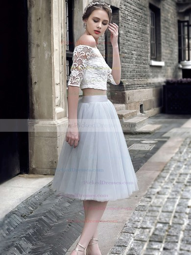 Princess Off-the-shoulder Lace Tulle with Ruffles Knee-length Two Piece 1/2 Sleeve Girls Prom Dresses #PDS020103308